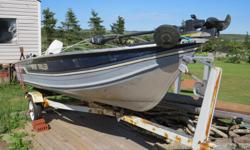 "1988 Sylvan 14'6"" boat. Very solid aluminum boat. No leaks or soft spots. 20HP Evinrude, galvanized trailer, fish finder, Minn Kota trolling motor and more. All in excellent condition. Asking $2000 or best offer."