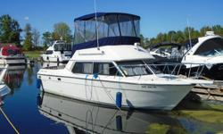 Description: This is a beautiful fresh water Cruiser. Outstanding Chris Craft quality in a very functional package. Powered by twin 260 hp Crusaders, this boat has newer fly bridge enclosure, batteries & charger. Safety equipment included with fenders,