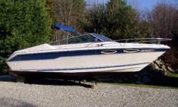 Extremely Clean 1989 Sea Ray 220cc, 22ft cuddy. Powered by a 260hp, 5.7L Mercruiser I/O. This boat was only used on Fresh water and has just been pulled out of a 5 year storage. This boat has Trim Tabs, Fully intergrated Swim Platform w/ladder, Fiberglass