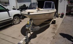 1989 Swiftsure Bro 465, 45HP oil injected Mariner outboard, tilt, Hummingbird fish finder, extra prop, Bimini top, Cabin top, Two fishing seats that can be removed, Shorelander trailer, good tires and bearings