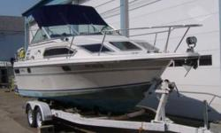 24 ft cruiser with aft cabin, main cabin berth, head and kitchenette Marine Survey Aug 2005 Complete with Caulkins trailer Complete with all necessary safety and mooring equipment (shore power cord, bumpers, etc) 350 engine with approx 500 hours Winter