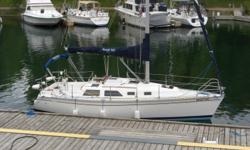 1993 Hunter sailboat for sale; fun to sail and in excellent condition.  All the features of a much larger boat; wheel, aft cabin, walk-thru transom, new canvas, new batteries, inboard diesel engine, etc.  Includes custom winter cover and cradle. Full