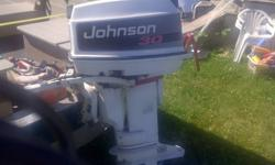 1993 johnson 30hp 2stroke runs fine, starts very easy, in fair condition. manual start...long shaft had no problems with motor hose/connectors not included reason for selling bought new motor contact me anytime (807)707-0567 or email me $800 obo, will not