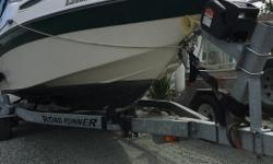 The boat is 20ft deep V with swim grid ladder and trailer and weighs 3500lb. The 2009 Roadrunner trailer is in great shape with surge brakes, 2016 electric winch, 2016 spare wheel/tire assbly, 5ft CE Smith guide on bunks, and new jack stand. The2004,