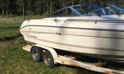 Motor runs awesome recent service and replacement of usual items, hoses etc ($4000) don't know the exact hours on boat but the previous owner did not use much and we have maybe put 40hrs in the past 5 years does not see much use just the odd outing. The