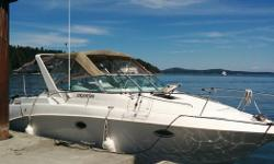 28 ft molded fibreglass hull powered by a newly installed 425 HP 7.4 L Mercruiser with a MPI Bravo 3 Leg. The motor was properly broken in for the first 20 hours and now has approx. 50 hours on it with an assumable warranty. Last survey completed on March