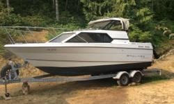 24.5 ft bayliner in good shape. New 5.7 Mercury installed in June 2015 with 108 hours on it. Needs new heat exchanger. Alpha 1 leg. Includes 15hp Mercury kicker. Boat comes with 2007 Karavan tandem axel trailer with new brakes in 2015. Call Chris at