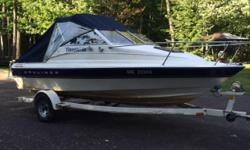 19 ft Bayliner -Clean 3.0 Litre Murcruiser, great on gas! -Bilge Pump -Cd Player and Speakers -Cuddy with Porta Potti -Trailer, in excellent shape -Cabin top - Seats 6 People -Rod Holders -Anchor, Life Jackets, Airhorn, -Swim Platform with Ladder Sharp