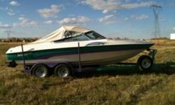 This 95 bluewater boat is in mint shape. No rips or tears in the seats. Comes with Bimini top and convertible canvas top. Powered by a mercruiser 5.7 v8 300 h.p. Has a real good sonar fish finder. And a 3 blade 19 pitch stainless prop. Brand new tires on