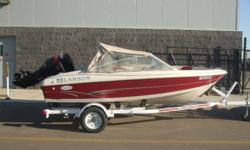 Lake Tested And Runs Great! 115 HP Mercury Outboard Engine, Seats 5, Stereo, Bimini Top, Open Bow, Ski Pylon, Cover and EZ Loader Trailer with Rollers and Swing Tongue!   For more details, visit Martin Motor Sports West Edmonton at 17348 118 Ave or online