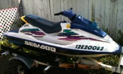 1996 Seadoo gsx 800 110 hp pretty good shape one chip out of the gel coat happened this year or last fall low hrs under 100 hours re covered seat some plastic has some fading needs new battery and your good to drive $2800 or $2900 with new battery This ad