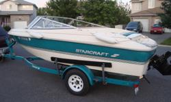Comes with 135 hp MerCruiser engine.Was recently tuned up.Has new starter and belt.Has a new tonneau cover, new driver and passenger seats and some new padding.Comes wit new-looking matching bunk trailer,Lowrance fish finder and Sony cd/mp3 stereo.This