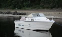 For Sale 1997 Bayliner Trophy 1802 Walkaround Boat with 2001 Trailer. Trailer is licensed until next September. 1997 Mercury Force 90HP. Fish Finder, Compass & VHF. All in excellant condition. Also has two 9.9HP Johnson Outboards intended for spare but