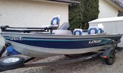 Lowe 1620 Aluminum Fishing Boat 70hp Johnson outboard motor c/w electric trim Oil injected, built in fuel tank 12v Bow mount trolling motor 2 Brand new Deep Cycle batteries never used Single Console with Tach, Speedometer, Fuel level, fish-finder 4 swivel