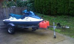 165 hours, trailer and cover included, Rotex 787 2 stroke, 110 hp, oil injection. (registration number intentionally blurred. That's not damage). PWC is in EXCELLENT condition with only slight paint scrapes on the bottom of the forward keel. Dealer