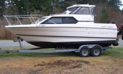 1998 Bayliner Cierra SE 2452 5.7 LX V-8 Bravo ll drive with S/S prop Trim tabs 15 HP Mercury kicker with power lift and prop ring Easy-Steer for kicker VHF radio Garmin chart plotter with coastal BC chip Lowrance sounder Compass Windshield wiper CD stereo