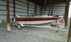 This well-equipped fishing boat has 2 standard seats plus one bicycle seat, Motorguide Lazer 2 52lbs 12 volt trolling motor, Lowrance Elite 7 fish finder, stereo, livewell, travel cover, plenty of storage compartments and bow cushions. It is powered by