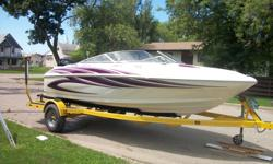 18' Glastron Carlson with 200 electronic fuel injection (efi) mercury outboard motor- 20 hours on newly rebuilt motor (with brand new leg), 1999, white with dark purple accents. Only a few in western Canada, interior is white leather with dark purple