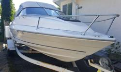 19.5 foot Bayliner 2004 for Sale. Comfortable cuddy cabin, with trailer. Maintained professionally. Full cover top, walk around camper back. Full tuned up by marine mechanic. The 4-cylinder Mercruiser 3.0 engine gets the boat up on plane very quickly and