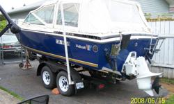 19.5 Ft Seats 6, canopy, cuddy, on tandem axle trailer. Stereo , willing to throw in Knee board, wake board, (500.00) 3 person tube, water skiis, tow rope.   We just moved to Grande Prairie AB, used the boat in BC lakes, Great boat on big water. We