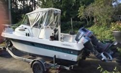 Great Fishing Boat Yamaha 200 hp 2 stroke (self feed oil) outboard 9.9 yamaha 4 stroke kicker (auto-start) new canvas cover, Lowrance Fish Finder, VHF Radio Very clean and well maintained, stored under shelter Heavy duty Trailer with built in cleaning