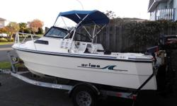 2000, 17' Arima Sea Ranger. 90 & 6 hp 4 stroke Suzuki outboards. 585 hrs on main. Just serviced. Invoice available. Lowrance color depth sounder & fish finder with SD nav card, VHF, Scotty swivel & tilt, down rigger holders, fresh water holding tank, wash