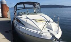 Bayliner 2655 '28 loa with '9'6 beam - very roomy New motor in 2011 Very well maintained - boathouse kept full service done each year incl. leg New fridge, newer VHF, curtains, carpet, decking & vinyl seats '6 RIB (Island Pacific) with 2.5hp 4stroke (very