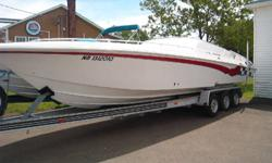 2000 FOUNTAIN 32 FEET WITH TWIN MERCRUISER 502 HO FUEL INJECTION BBC , BRAVO ONE OUT DRIVE , THIS BOAT IS A STEAL OF A DEAL AT THIS LOW PRICE OF $59995 , BOAT HAS A LARGE CUDDY WITH PORTS POTTI ,ALL ORIGINAL GELL COAT, INTERIOR  ALL FINISHED IN HIGH