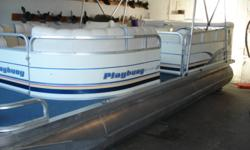 2000 Playbouy challenger 200 pontoon,powered by a 50HP Johnson,oil injected w/power trim,stereo,tilt wheel,docking lights,bimini top,full cover,privacy station w/portapotti,table,no rips,no tears,very tiddy,serviced,can be seen indoors heated,no