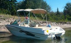 18' SEARAY 3.0L 135HP inboard/outboard Mercruiser.  Swim platform with large soft sundeck.  Bow mounted Minnkota trolling motor.  New bow and cockpit cover with bimini top.  Lots of storage as well as a large skiwell.  Fishfinder with GPS, depth,