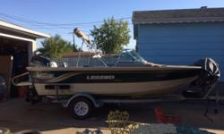 18 1/2 Allsport. 120 hp Force 2 stroke, made by Mercury. Boat and motor in very good condition. Full windshield, Livewell, trolling motor, 3 seats( like new), 6 seat bases, finder, custom stainless rod holders, full stand up canopy with full enclosure.