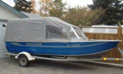 """Marathon Aluminum Quality, 120 horespower Mercury Sport Jet with only 89 Hours. 3/8"""" Stainless steel skid plate, Shorelander EZ Load Trailer. Comes with accessories including 4 PFD's, 3 paddles, fish finder, canvas weather canopy, boat cover for storage,"""