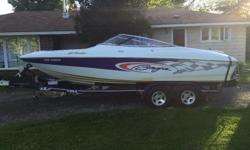 2002 BAJA ISLANDER 212 22ft 6.2L MPI (320hp at propshaft) BRAVO 1 outdrive 8 passenger rating Corsa thru hull exhaust Silent choice Bimini top Mooring covers New stereo with 2 amps and subwoofer (1000 watt RMS total power) Boat cover included Eagle
