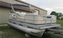 "Another new arrival just came in July 20th 2002 Sweetwater 18' Pontoon Boat with an older /80's/90's Evinrude 48 Special on it. * Boat 18' long x 8 "" wide * Full furniture which is good no rips or tears, seats 10+, * Previous owner used armoral on the"