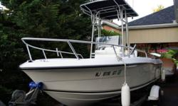 "2003 Angler Centre Console Boat, powered by a 2003 90HP Mercury Oil Injected Salt Water Outboard Motor with Power Trim. The Angler is 19ft in length, has a ""Deep V"" Hull, (which is 100% wood free construction) Galvanized Tide Water Trailer with Titan"