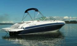 2004 Four Winns 225 Sundowner Cuddy Cabin powered by a Volvo Penta 5.7 GI 280 HP with Stainless prop. Well maintained, 115 hours, White/Navy exterior, White/sandstone/navy interior. Matching Four Winns tandem trailer with aliminum wheels (including spare)