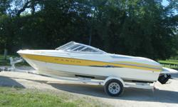 2004 Maxum SR boat and trailer *Yellow and white colored *Open bow *20' long w/ 2' swim platform & ladder *Radio and CD player *Full snap on top *Gray storage cover *Bimini top *Sleep seat *Two transom jumper seats *Inboard/outboard (5 L Merc) *Stored