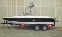 Very Low Hours for a 2004! 5.7L 335 HP V-Drive Engine, Tower, Tower Speakers, Tower Lights, Bimini Top, Tower Mirror, Open Bow, Stereo, Perfect Pass Speed Control, Pop-Up Cleats, Ski Pylon, Heater, Docking Lights, Teak Platform, NEW Cover, Rear Remote and