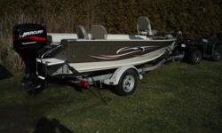 6 ft 10 in beam 2000 50 HP 4stroke Mercury 1650 Galvanized EZ Loader Trailer (upsized so boat can carry cargowhile towing) with 3 comfortable bass seats,plenty of storage for rods and gear,30-gallon aerated livewell. Has a trolling motor plug,a battery