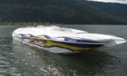 29 ft. tunnel hull with open bow,powered by mercruiser 500hp [470hp] and a bravo 1 drive. Sits on a triaxle extreme trailer. Single ram steering. Lots of room in this boat and also lots of storage! Bimini top,travel cover, full storage cover, stereo, disc