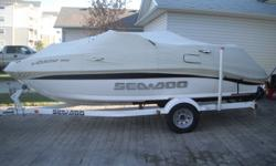 I am selling my 18.5ft Sea Doo Utopia boat and trailer simply because i need more garage space. This boat is equipped with a Marine Clarion Deck/CD player and a Marine sound system, an Eagle Cuba 168 depth/fish finder, V6 Mercury 210hp Two Stroke Jet