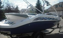 For sale, good condition 2005 Seadoo Speedster 200, super fast jet boat, twin 185hp Supercharged Rotax engines for a total of 370 horses! Seats 7 people comes with wake tower and adult and junior wakeboards and kneeboard and a tube with related ropes etc.