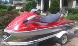 2005 VX110 DELUXE, three seater, fuel injected, four stroke, 110 HP, only 130 hours. Sharp in red! Comes with cover and Trailer is included for the package price of $6,300. Recently tuned up with oil change for the season and is in the water for serious