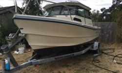 One owner 19 ' Arima Sea Ranger Hardtop in New condition only 250 hours just serviced and ready to go 115 Yamaha with only 250 Hours and a 8 Yamaha ,wired for down riggers has a Horizon GPS and VHF Radio and Roadrunner Trailer and winter cover excellent