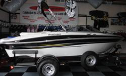 This 21' boat has been a one owner boat and has only 132 Hrs it comes with bimini top, 5.0l merc, in floor ski locker, built in cooler, snap carpeting, snap covers, & full cover walk through transom and a swing tongue trailer. This boat is in like new