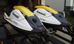 "TWO (2) 2006 Kawasaki SXR 800 stand up jet ski's.The skis are in very nice condition. Gorgeous machines that look ""as new"" and have maybe 40- 50 hours on them. They are all stock with no modifications.   The package comes with a 2 place Trailer. The"