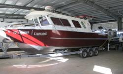 BOAT:LIFETIMER 30' PILOTHOUSE MOTORS:YAMAHA F300XCA 2014 YAMAHA LF300XCA 2014 COUNTER ROTATING SS PROPS TRAILER: ROAD RUNNER 15000 TRI AXLE, BUNK OPTIONS INCLUDED: WALLACE STOVE/HEATER WABASCO FORCED AIR DIESEL HEATER YAMAHA DUAL STATION DUAL BINNACLE
