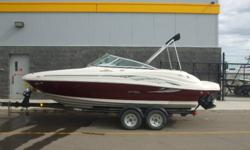 Let the good times roll with this energetic 200 Sundeck!   Ready To Launch with only 105 Hours! 5.0L MPI MerCruiser Alpha One Stern Drive Engine, Seats 8, Stereo, Bimini Top, Table, Bow Ladder, Open Bow, Sirius Satellite Radio, Extended Swim Platform,