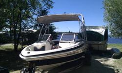 2006 Tahoe Q4 fiberglass boat, 190 hp mercruiser 4.3 liter engine. Factory wake tower and sunbrella, dual back up battery system, Garmin color depth/fish finder CD player. Has a tracker trailer (no rust) and comes with spare tire, and comes with full boat