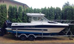 This Dual Outboard 24' Campion 682 SC Explorer is ideal for Salt Water Cruising and Ocean fishing daytrips. She has a Garmin GPSmap 5208 Fish Finder / GPS with a Large Screen. There is a small Galley and Cabin with Sink and Head that is perfect for